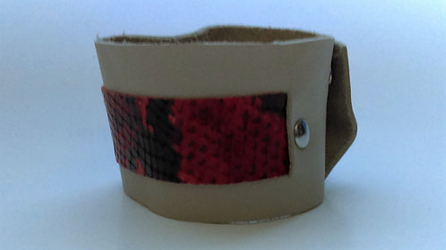 Leather Cuff with Red