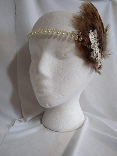 Pearl Headband with Feathers