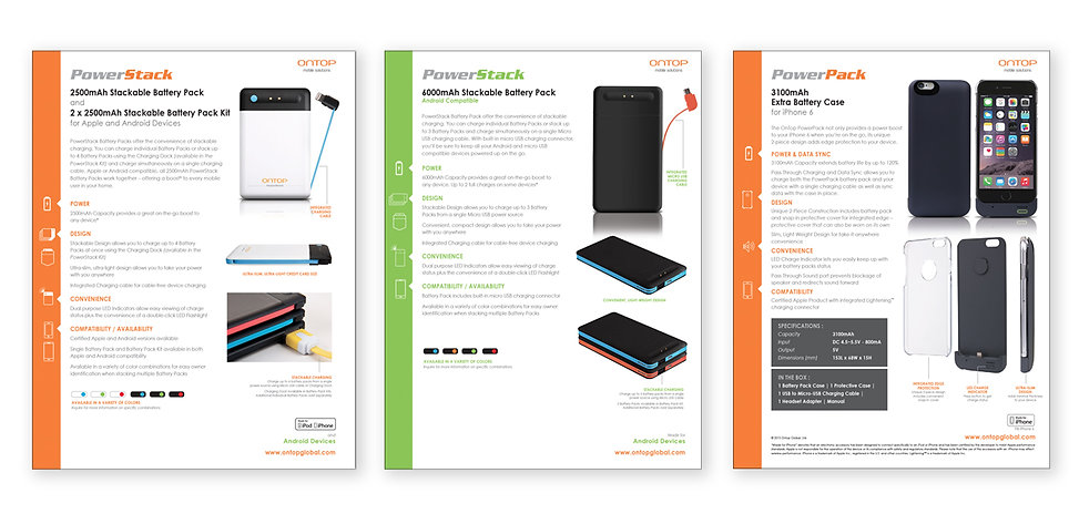 product development collateral spec sheet design