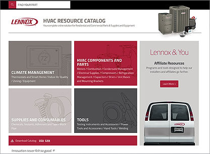 Lennox Parts Catalog Langing Page Design