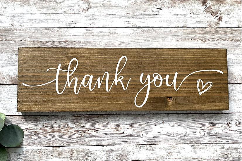 """THANK YOU""-Schild, ca. 12 x 39 cm"