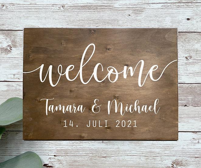 WELCOME-Schild mit Namen und Datum, ca. 50 x 70 cm