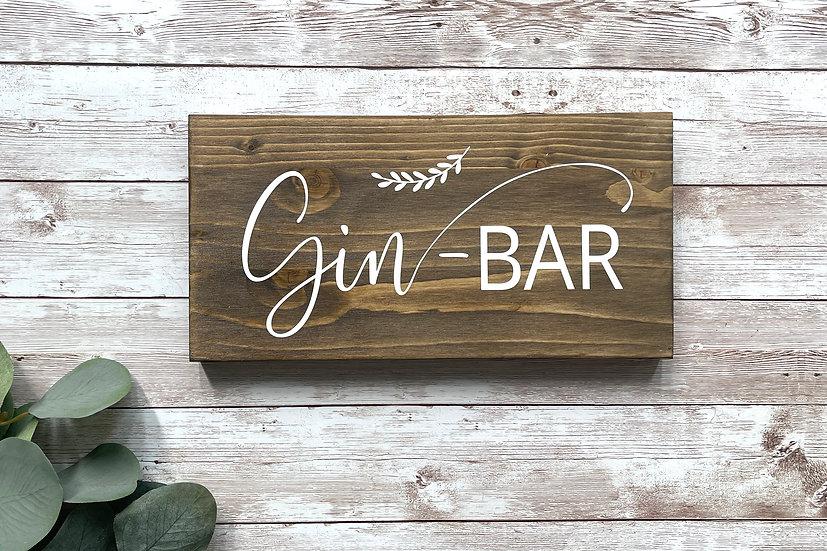 """""""GIN-BAR""""-Stationenschild, ca. 12 x 24 cm"""