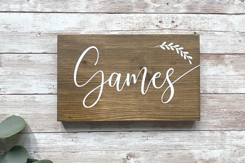 """""""GAMES""""-Stationenschild, ca. 12 x 20 cm"""