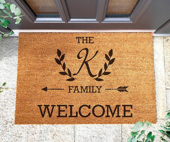 """Fußmatte mit Ihrem """"FAMILIEN-INITIAL"""", groß"""