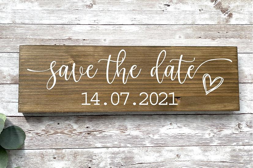 SAVE THE DATE-Schild mit eurem Datum, ca. 12 x 39 cm