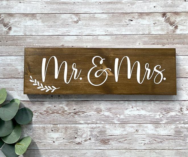"""""""Mr. & Mrs."""",  Hochzeitsschild, ca. 12 x 39 cm"""