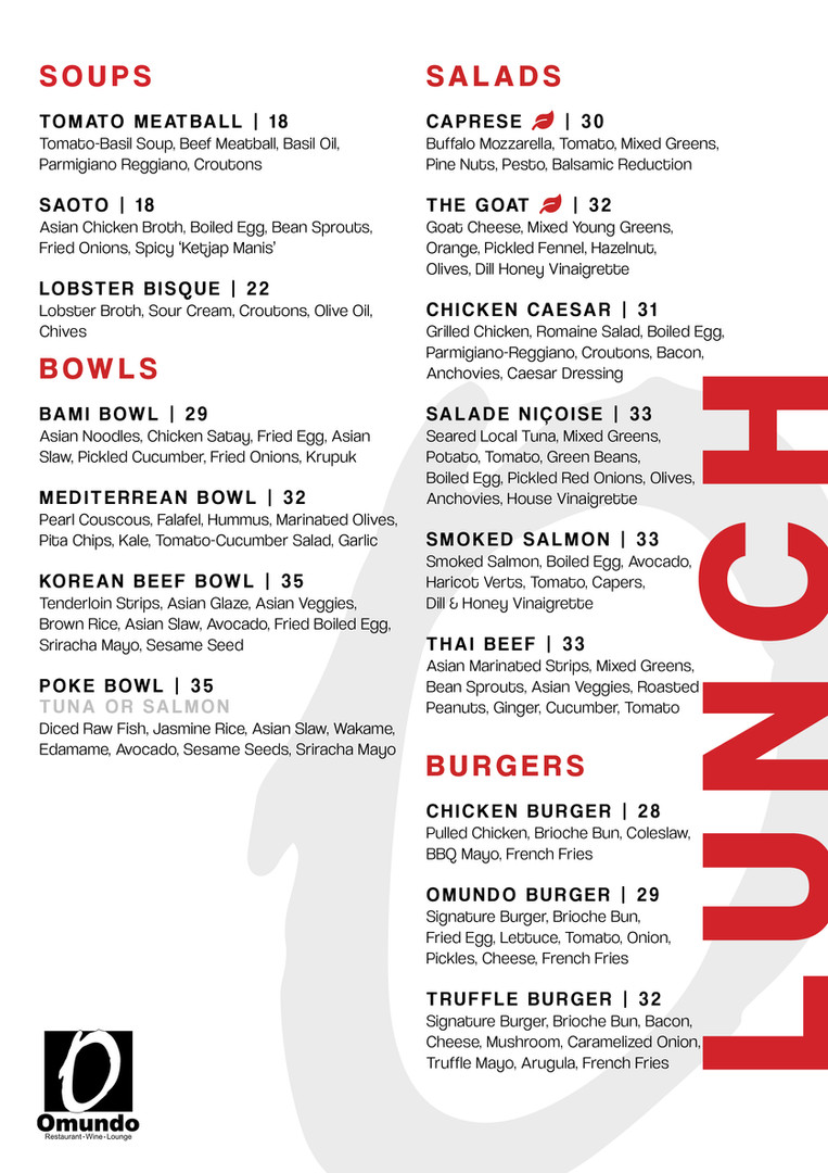 Lunch Menu Available from 12 - 5 PM