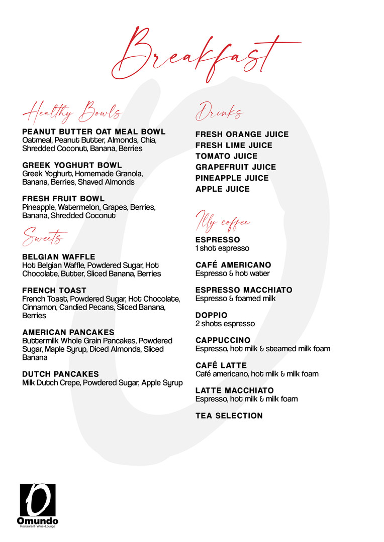 Breakfast Available from 7:30 AM - 12:00 PM
