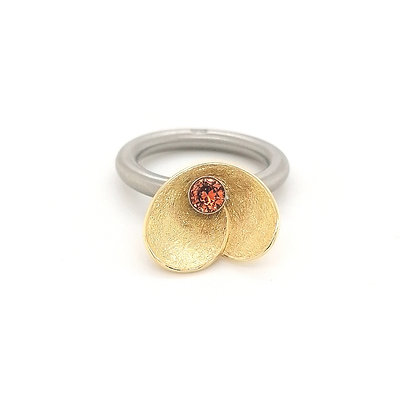 Pur Swivel Goldblüte geelgoud met Padparadja