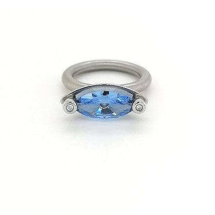Pur Swivel model Duett met synth. aquamarijn en diamant