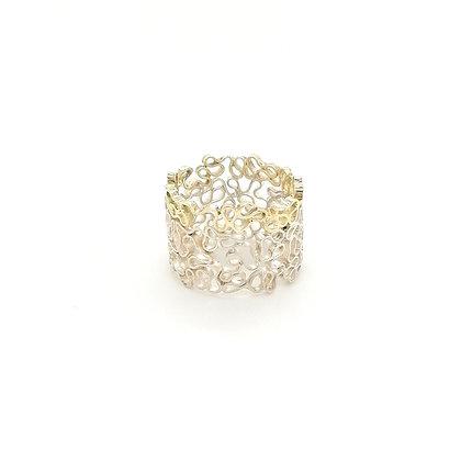 Zigt zilveren ring met een gouden randje