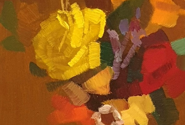 """Original Oil Painting by Zineb El Kouhen """"Bouquet"""""""
