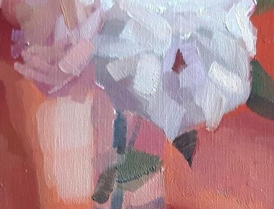 """Original Oil Painting by Zineb El Kouhen """"Rose Corail"""""""