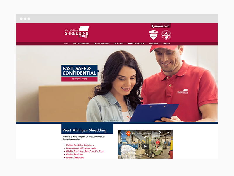 Shredding Services Web Design Sample