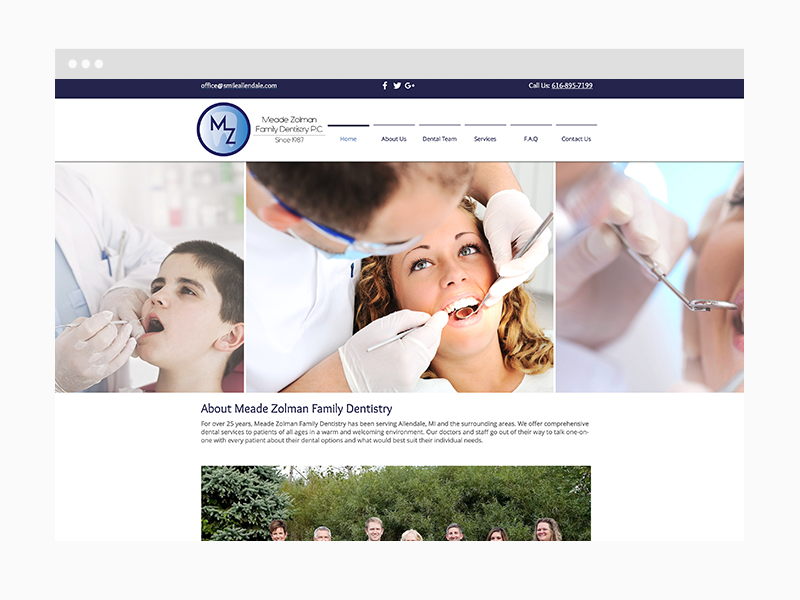 Dental Web Design Sample