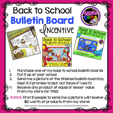 Back to School Bulletin Board Incentive & TpT Site-Wide Sale!