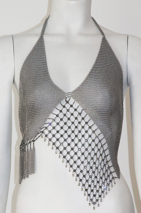 Chainmail Mesh Top W/ Swarovski Crystals