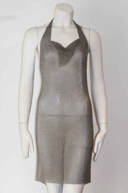 Mesh Backless Dress W/ Diamond Fringe