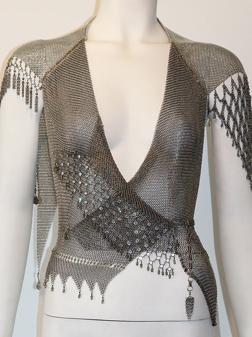 Chainmail Top W/ Fringe Crystal Sleeve