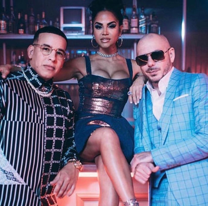 Natti Natasha with Pitbull and Daddy Yankee in their No Lo Trates MV