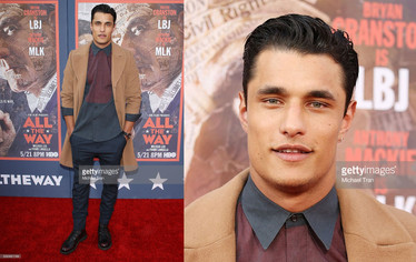 """Staz Nair, from Game of Thrones, wearing Harper's PR Private Collection at HBO's """"All the Way"""" Premiere"""
