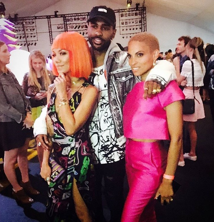 Goepele wearing Jean Paul Ataker and Dana Michele jewelry with Jhene Aiko & Big Sean at the Moschino fashion show