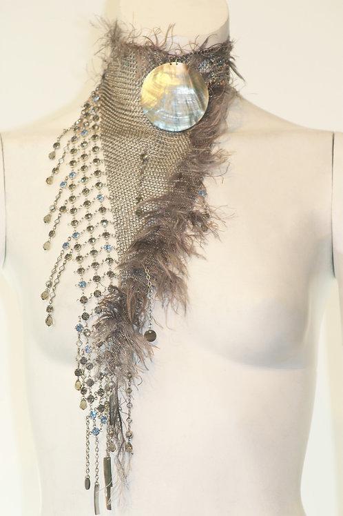 Faux Feather & mesh Neckpiece W/ Shell Pendant