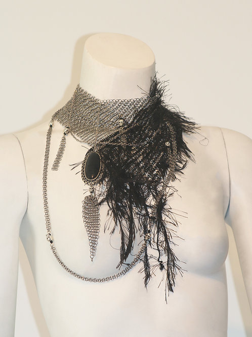 Silver And Black Embellished Faux Feather Neckpiec