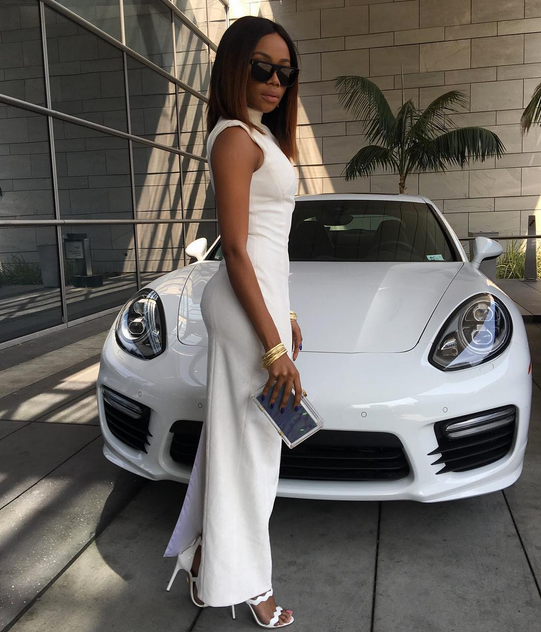 Bonang Matheba wearing Jean Paul Ataker