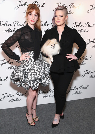 Molly Bernard and Kelly Osborne pose at Jean Paul Ataker's SS17 show during NYFW