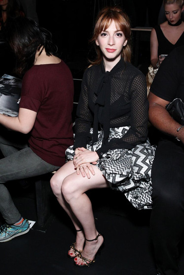 Molly Bernard wears Joyce Echols shoes while attending NYFW SS17 Show