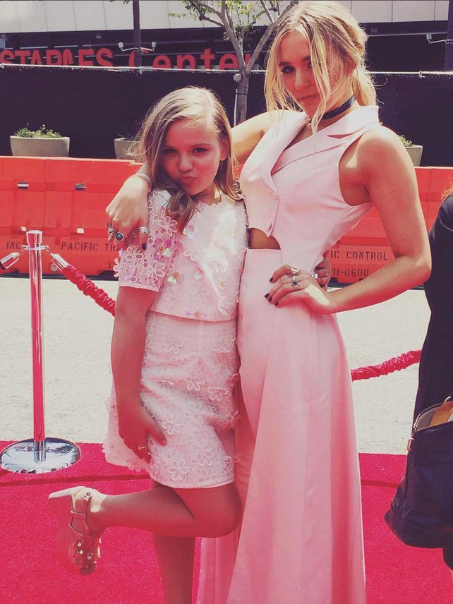 Lennon Stella wearing Jean Paul Ataker at Radio Disney Movie Awards