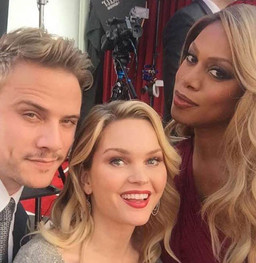 Sunny Mabrey wearing Dana Michele earings while taking selfie with Laverne Cox