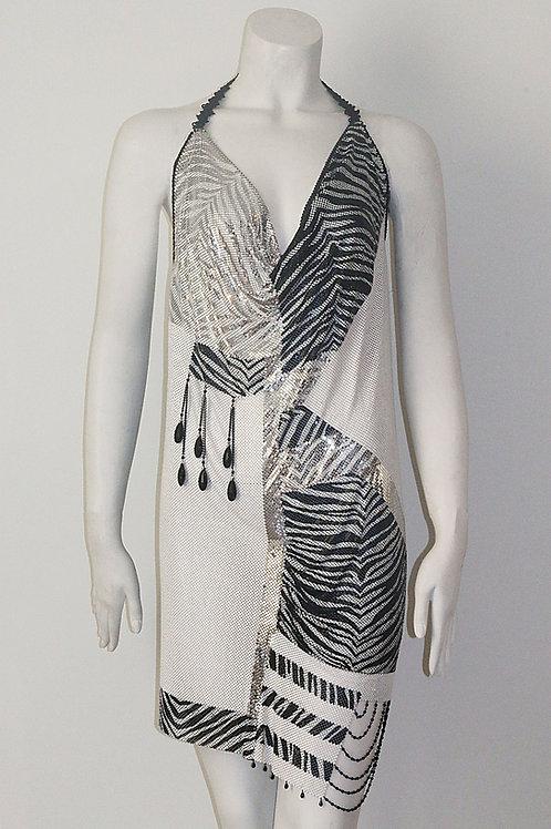 B&W Animal Print Dress W/ Swarovski Crystals