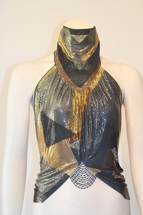 High Neck Gold Multicolor Mesh Halter Top