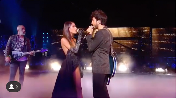 Tini with Sebastian Yatra performing at Premios Juventud
