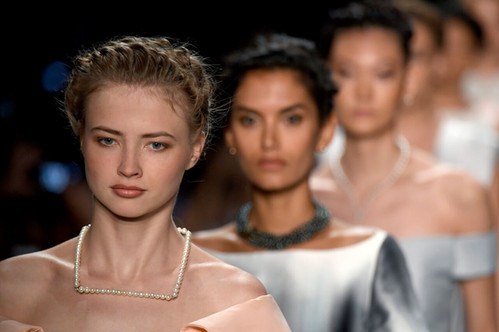 NYFW SS17 wearing Misaki pearl necklaces