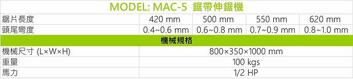 鋸帶伸鋸機(選購配備) MAC-5