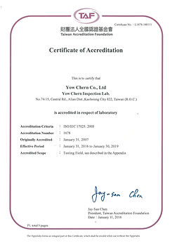 Laboratory Certificate by TAF