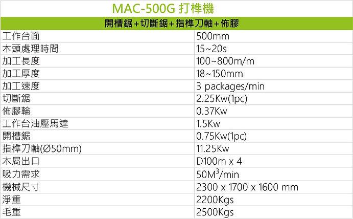 打榫機 MAC-500G