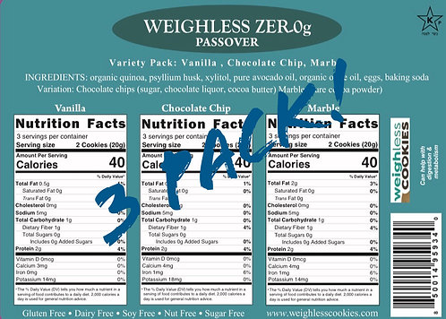 3 Pack Weighless™ Passover Zer-0g Cookies - 18 Cookie Assortment Pack - 3 Flavo