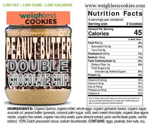 Weighless™ Peanut Butter Double Chocolate Chip Cookies