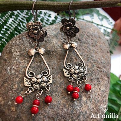 Aretes Florinda Coral Rojo