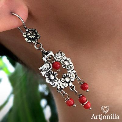 Aretes Adelita Coral Rojo