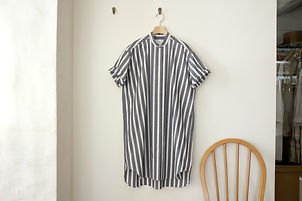 スタンドカラー チュニックシャツ 半袖