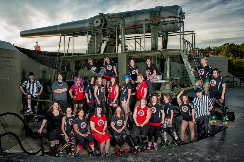 Whidbey Island Roller Girls team photo Fort Casey cannon 2013