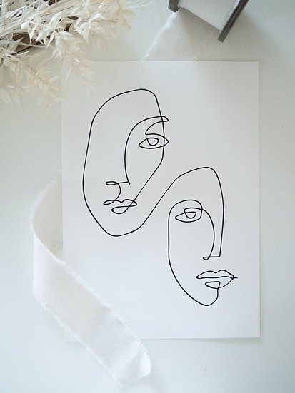 two Faces Print A4