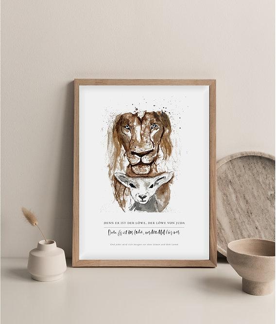 Löwe und Lamm – Aquarell A4 Print
