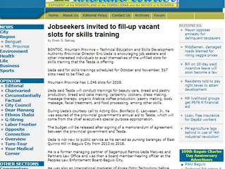 Jobseekers invited to fill-up vacant slots for skills training